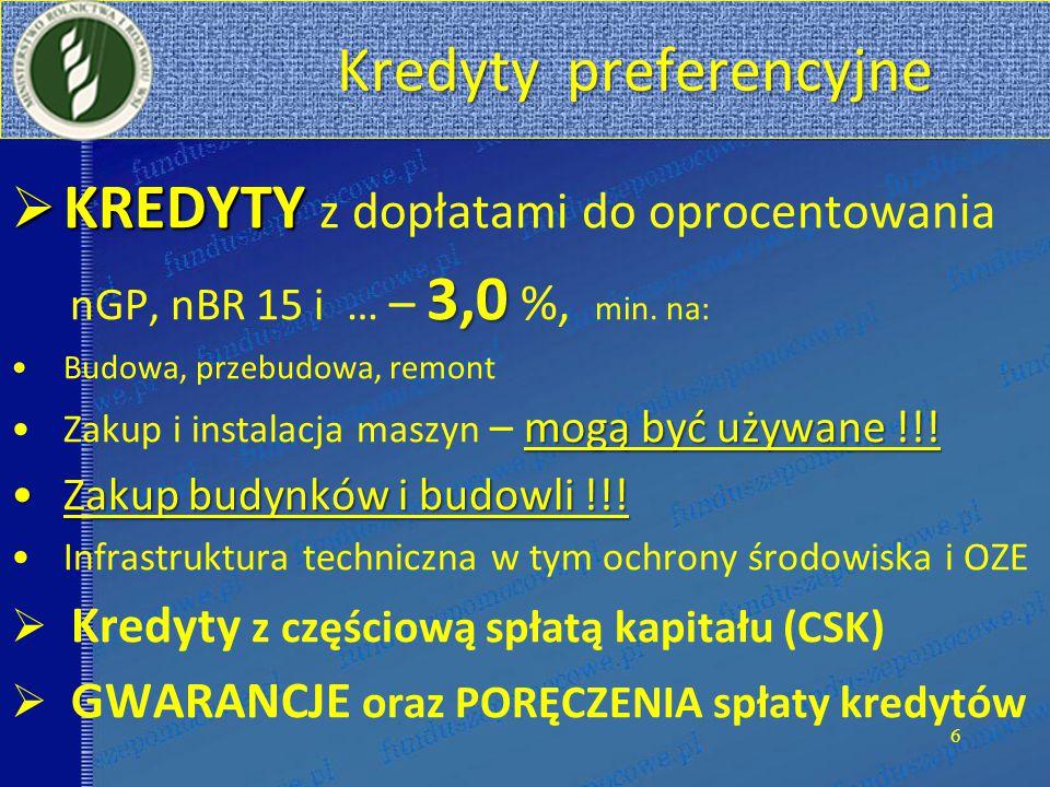 Kredyty preferencyjne Kredyty preferencyjne  KREDYTY  KREDYTY z dopłatami do oprocentowania 3,0 nGP, nBR 15 i … – 3,0 %, min.