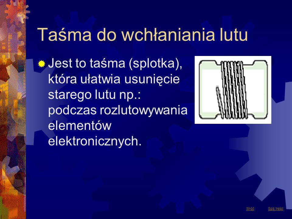 Taśma do wchłaniania lutu  Jest to taśma (splotka), która ułatwia usunięcie starego lutu np.: podczas rozlutowywania elementów elektronicznych. Spis