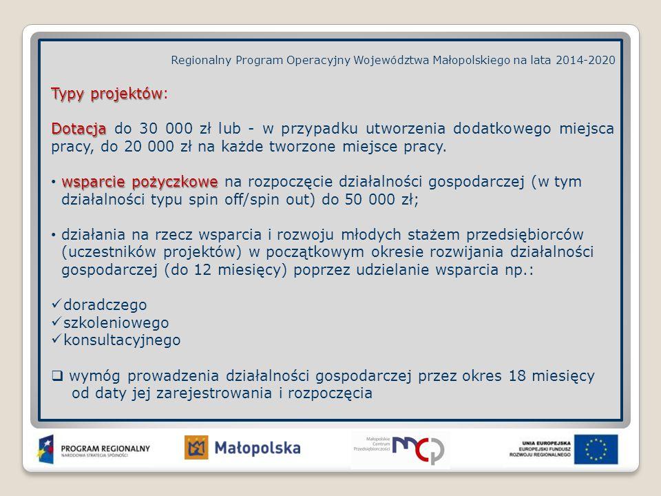 Regionalny Program Operacyjny Województwa Małopolskiego na lata 2014-2020 Typy projektów Typy projektów: Dotacja Dotacja do 30 000 zł lub - w przypadk
