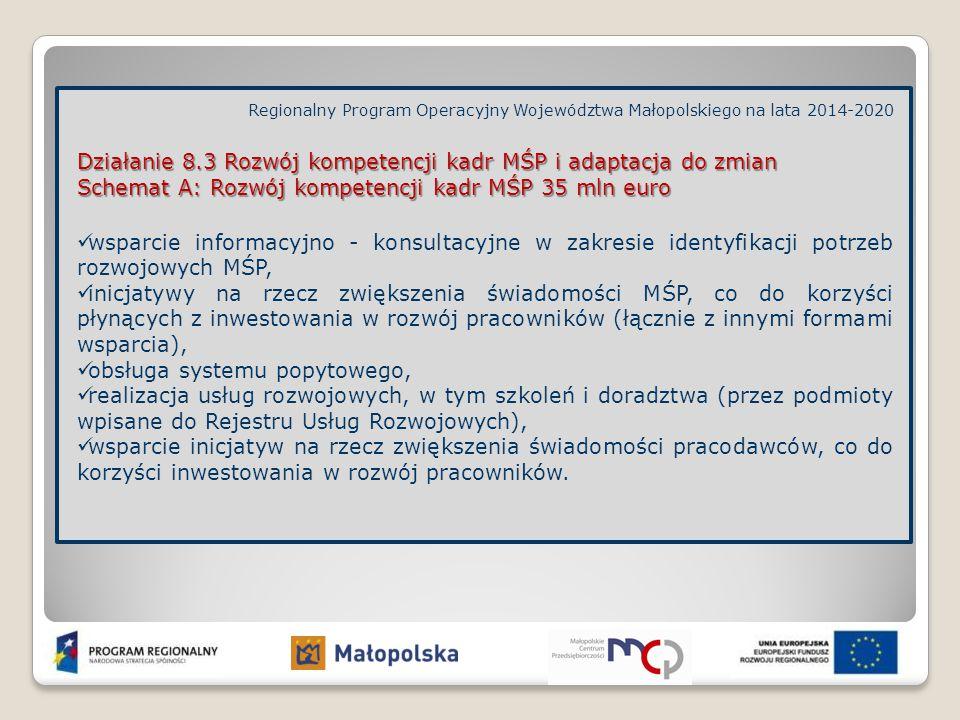 Regionalny Program Operacyjny Województwa Małopolskiego na lata 2014-2020 Działanie 8.3 Rozwój kompetencji kadr MŚP i adaptacja do zmian Schemat A: Ro