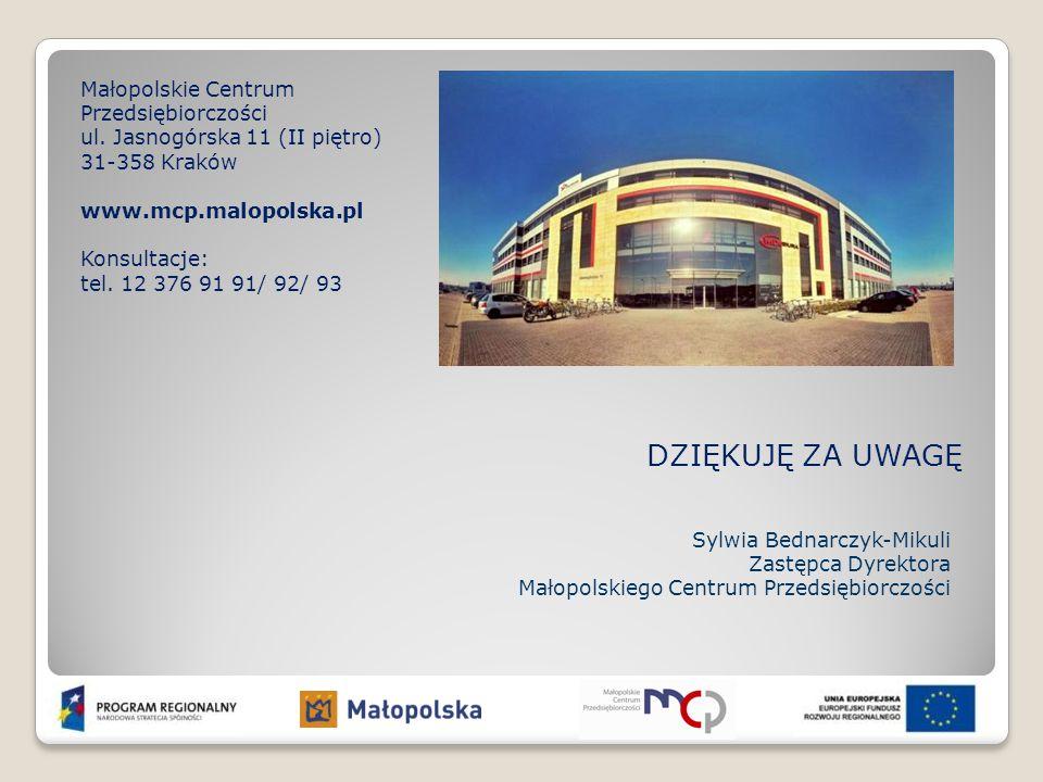 DZIĘKUJĘ ZA UWAGĘ Małopolskie Centrum Przedsiębiorczości ul. Jasnogórska 11 (II piętro) 31-358 Kraków www.mcp.malopolska.pl Konsultacje: tel. 12 376 9