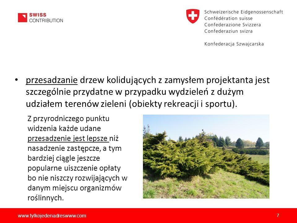 www.tylkojedenadreswww.com 7 przesadzanie drzew kolidujących z zamysłem projektanta jest szczególnie przydatne w przypadku wydzieleń z dużym udziałem