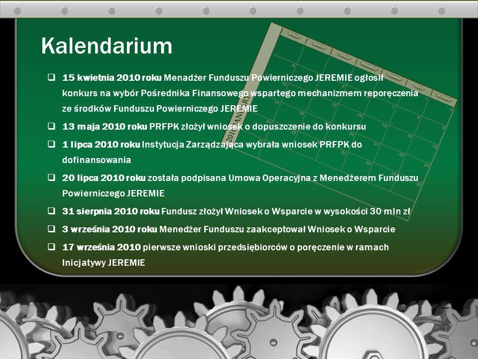  15 kwietnia 2010 roku Menadżer Funduszu Powierniczego JEREMIE ogłosił konkurs na wybór Pośrednika Finansowego wspartego mechanizmem reporęczenia ze