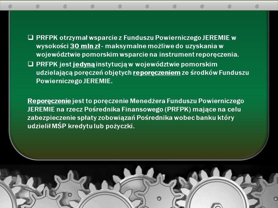  PRFPK otrzymał wsparcie z Funduszu Powierniczego JEREMIE w wysokości 30 mln zł - maksymalne możliwe do uzyskania w województwie pomorskim wsparcie n