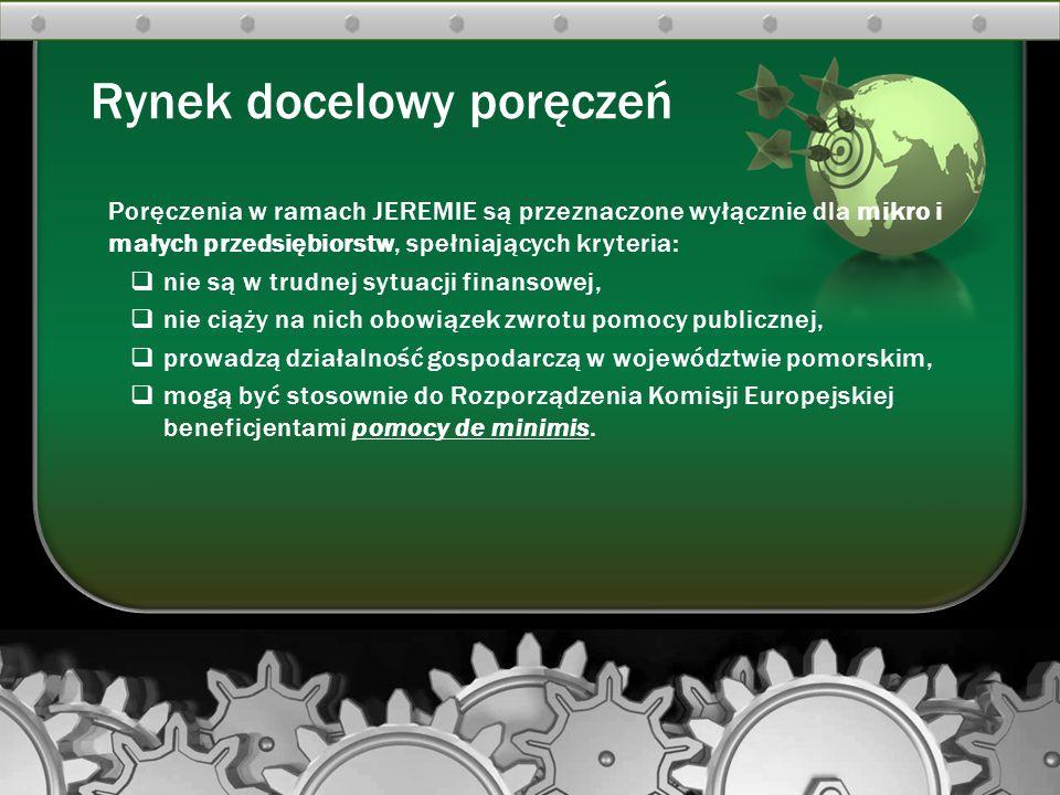 Poręczenia w ramach JEREMIE są przeznaczone wyłącznie dla mikro i małych przedsiębiorstw, spełniających kryteria:  nie są w trudnej sytuacji finansow