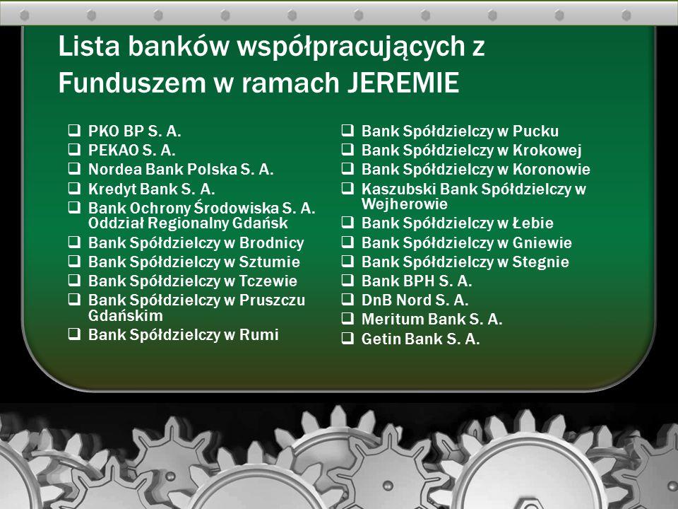 PKO BP S. A. PEKAO S. A. Nordea Bank Polska S. A. Kredyt Bank S. A. Bank Ochrony Środowiska S. A. Oddział Regionalny Gdańsk Bank Spółdzielczy w