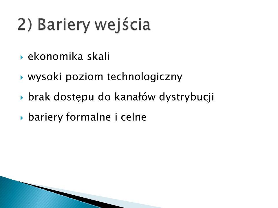  ekonomika skali  wysoki poziom technologiczny  brak dostępu do kanałów dystrybucji  bariery formalne i celne
