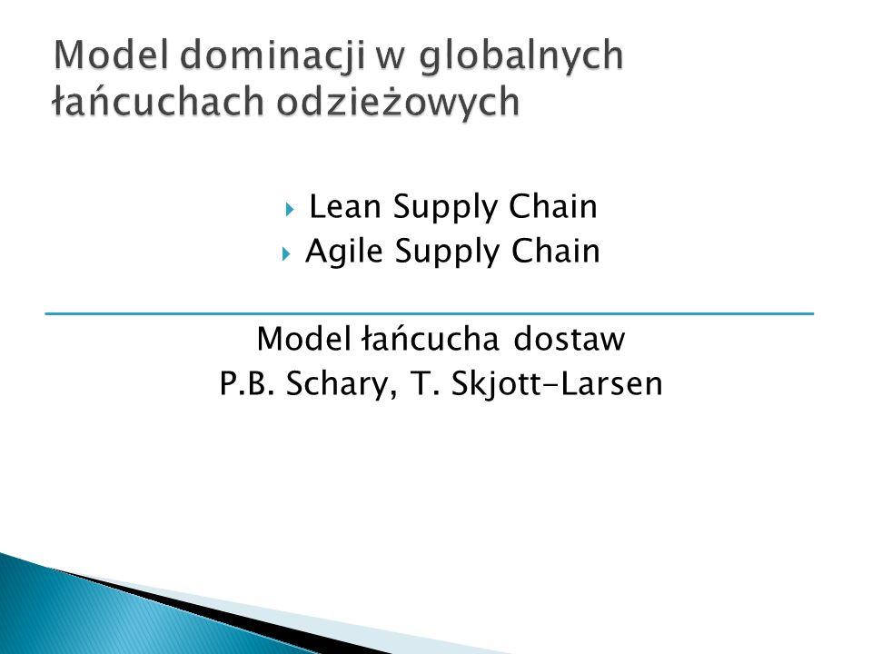  Lean Supply Chain  Agile Supply Chain Model łańcucha dostaw P.B. Schary, T. Skjott-Larsen