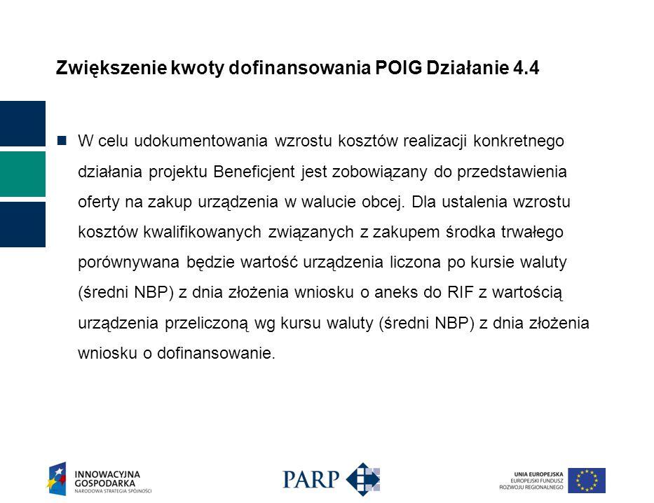 Zwiększenie kwoty dofinansowania POIG Działanie 4.4 W celu udokumentowania wzrostu kosztów realizacji konkretnego działania projektu Beneficjent jest zobowiązany do przedstawienia oferty na zakup urządzenia w walucie obcej.
