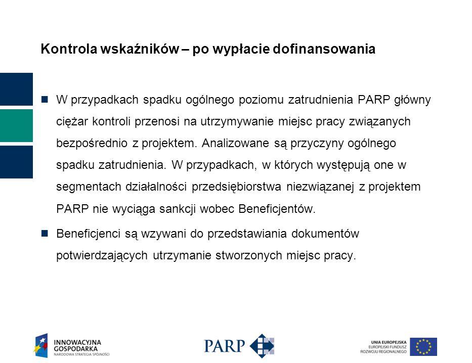 Kontrola wskaźników – po wypłacie dofinansowania W przypadkach spadku ogólnego poziomu zatrudnienia PARP główny ciężar kontroli przenosi na utrzymywanie miejsc pracy związanych bezpośrednio z projektem.