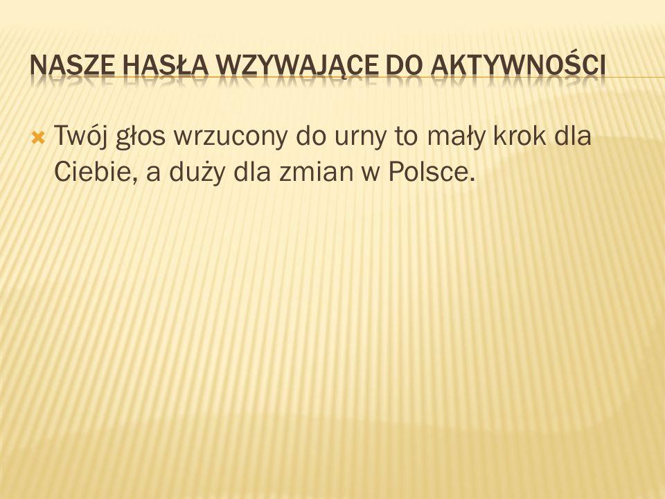  Twój głos wrzucony do urny to mały krok dla Ciebie, a duży dla zmian w Polsce.