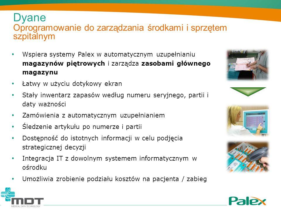Dyane Oprogramowanie do zarządzania środkami i sprzętem szpitalnym Wspiera systemy Palex w automatycznym uzupełnianiu magazynów piętrowych i zarządza