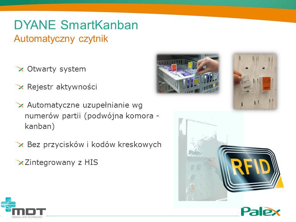 DYANE SmartKanban Automatyczny czytnik Otwarty system Rejestr aktywności Automatyczne uzupełnianie wg numerów partii (podwójna komora - kanban) Bez pr