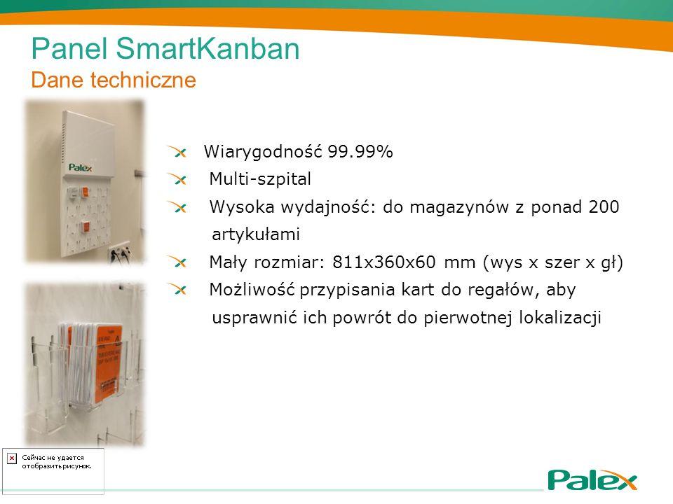 Panel SmartKanban Dane techniczne Wiarygodność 99.99% Multi-szpital Wysoka wydajność: do magazynów z ponad 200 artykułami Mały rozmiar: 811x360x60 mm