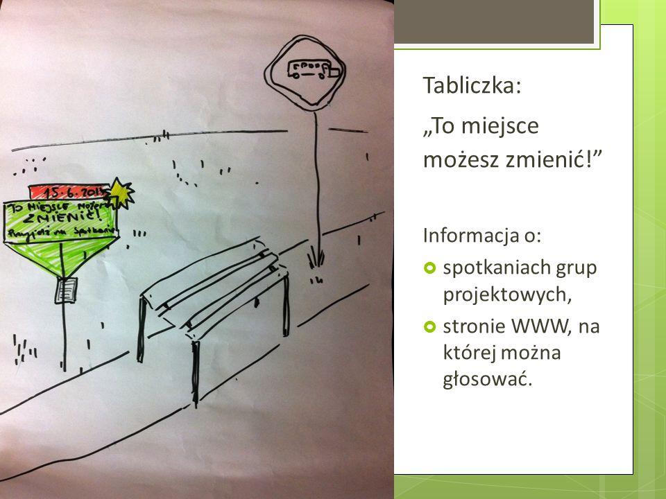 """Tabliczka: """"To miejsce możesz zmienić!"""" Informacja o:  spotkaniach grup projektowych,  stronie WWW, na której można głosować."""