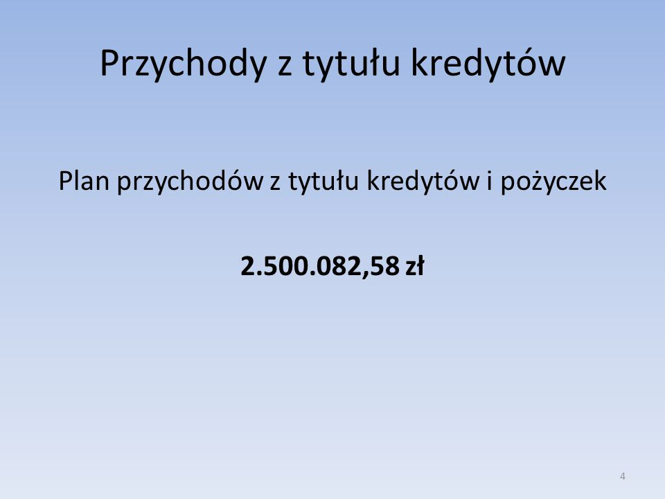 Plan rozchodów Plan rozchodów wynosił: 1.139.653,73 zł spłaty otrzymanych kredytów krajowych 1.139.653,73 zł 5