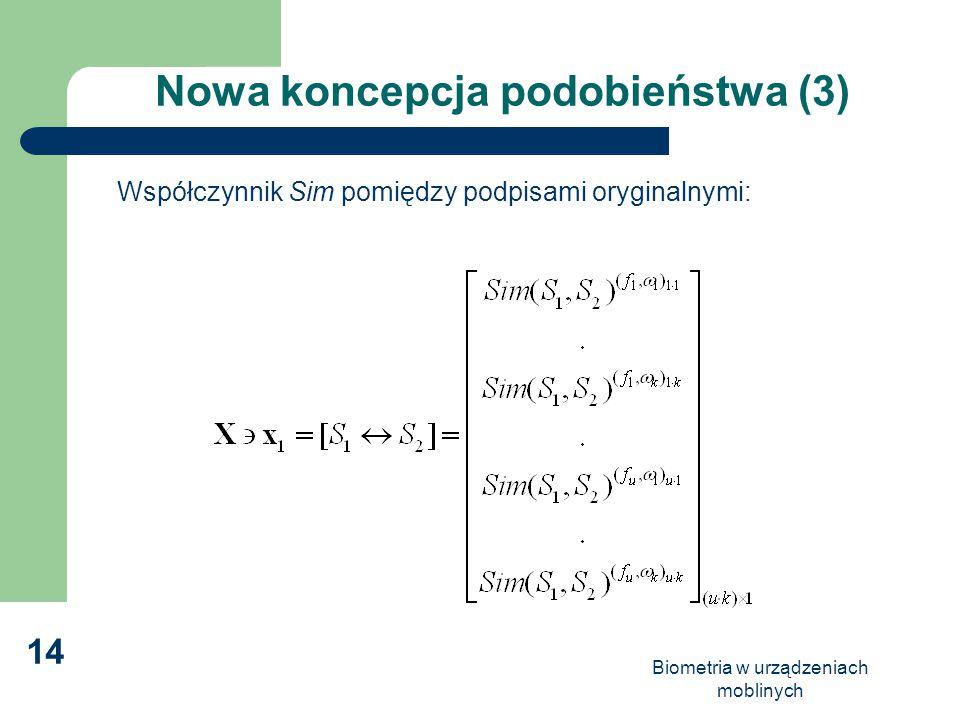 Biometria w urządzeniach moblinych 14 Nowa koncepcja podobieństwa (3) Współczynnik Sim pomiędzy podpisami oryginalnymi: