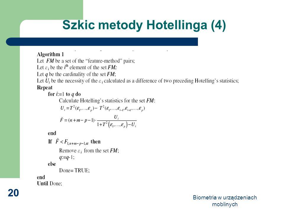 Biometria w urządzeniach moblinych 20 Szkic metody Hotellinga (4)