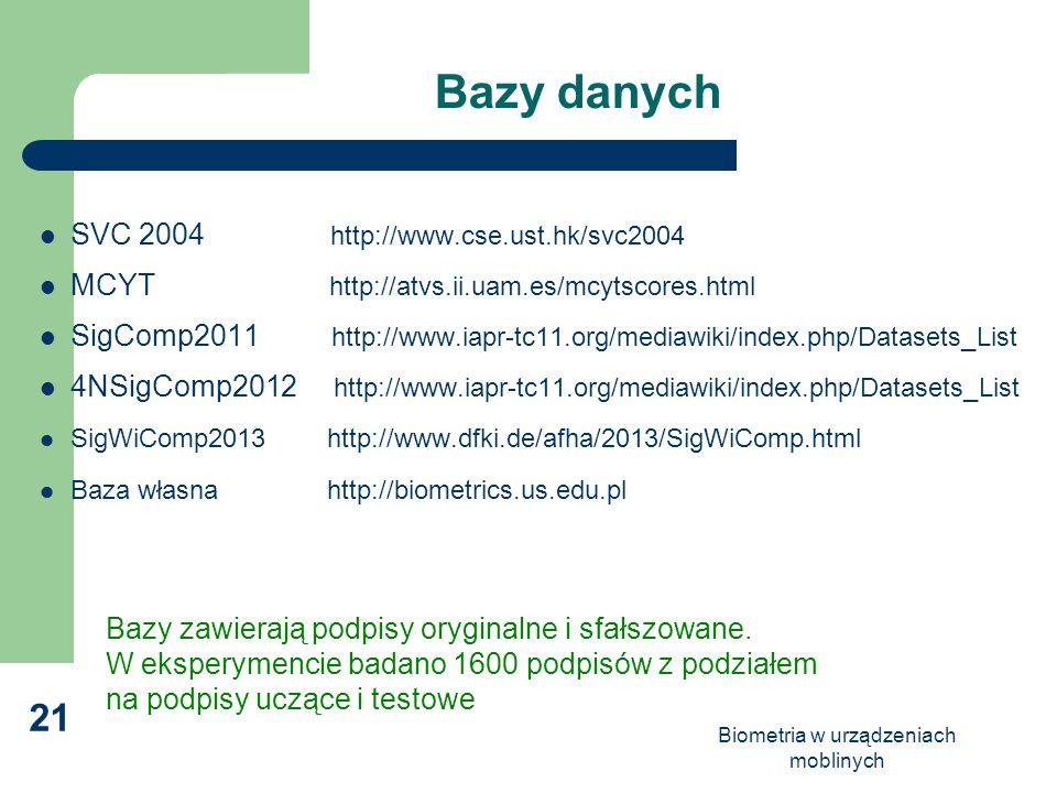 Biometria w urządzeniach moblinych 21 Bazy danych SVC 2004 http://www.cse.ust.hk/svc2004 MCYT http://atvs.ii.uam.es/mcytscores.html SigComp2011 http:/
