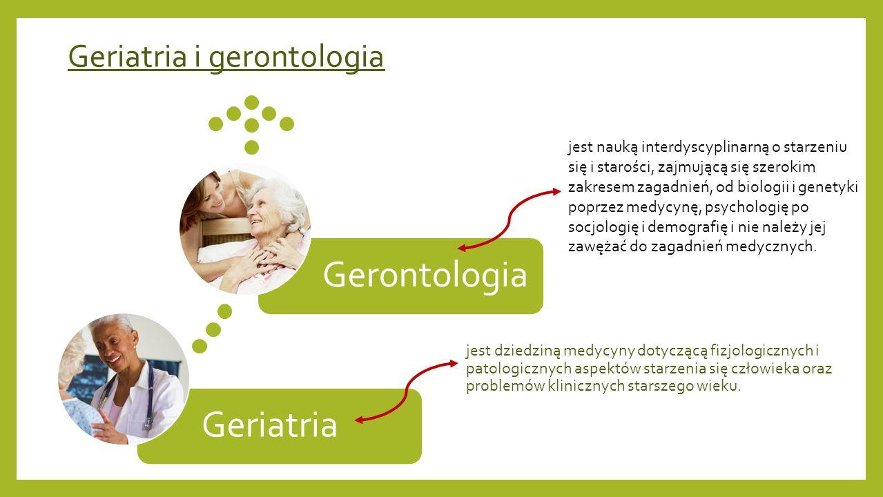 Geriatria i gerontologia jest dziedziną medycyny dotyczącą fizjologicznych i patologicznych aspektów starzenia się człowieka oraz problemów klinicznyc