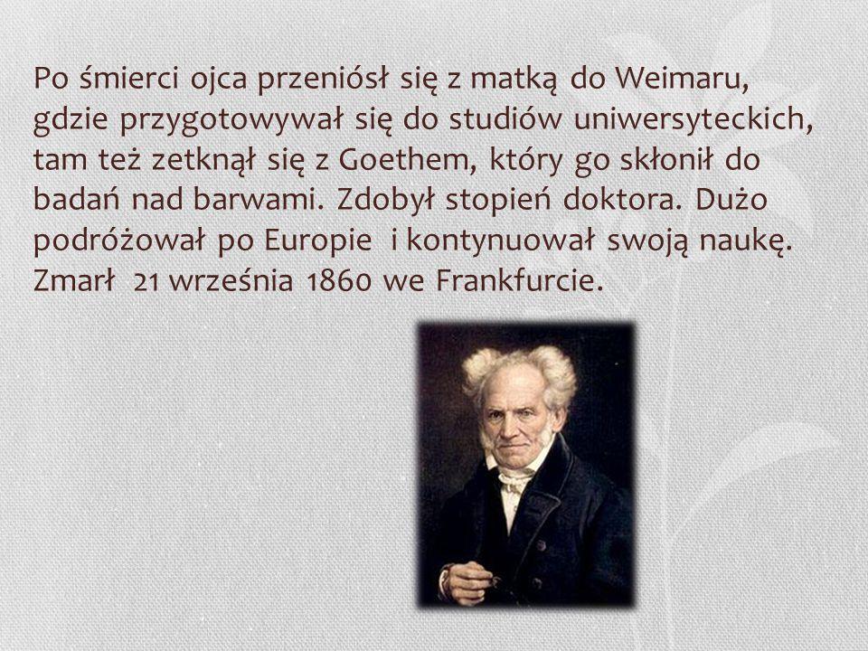 """Poglądy filozoficzne Filozofia Schopenhauera rozpoczyna się od zdania """"Świat jest moim wyobrażeniem ."""