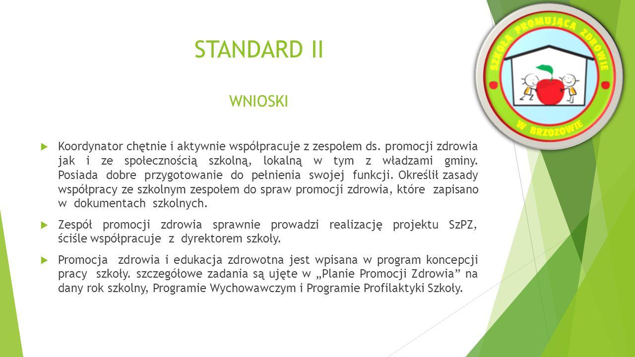 STANDARD II WNIOSKI  Przeprowadza się diagnozę w celu wyborów problemów priorytetowych.