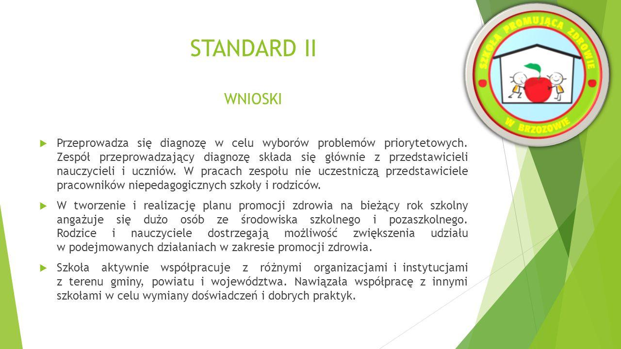 STANDARD II WNIOSKI  Wszystkie realizowane zadania w zakresie promocji zdrowia wynikające z planu działań są długofalowe, systematyczne, monitorowane przez koordynatora, dyrektora szkoły i zespół ds.