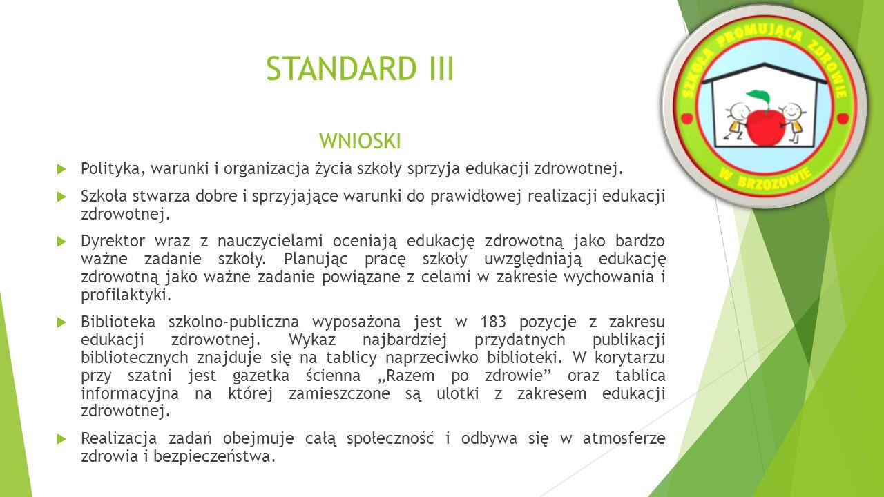 STANDARD III WNIOSKI  Nauczyciele poszerzają swoje kompetencje poprzez konkretne działania oraz uczestniczą w szkoleniach i warsztatach.