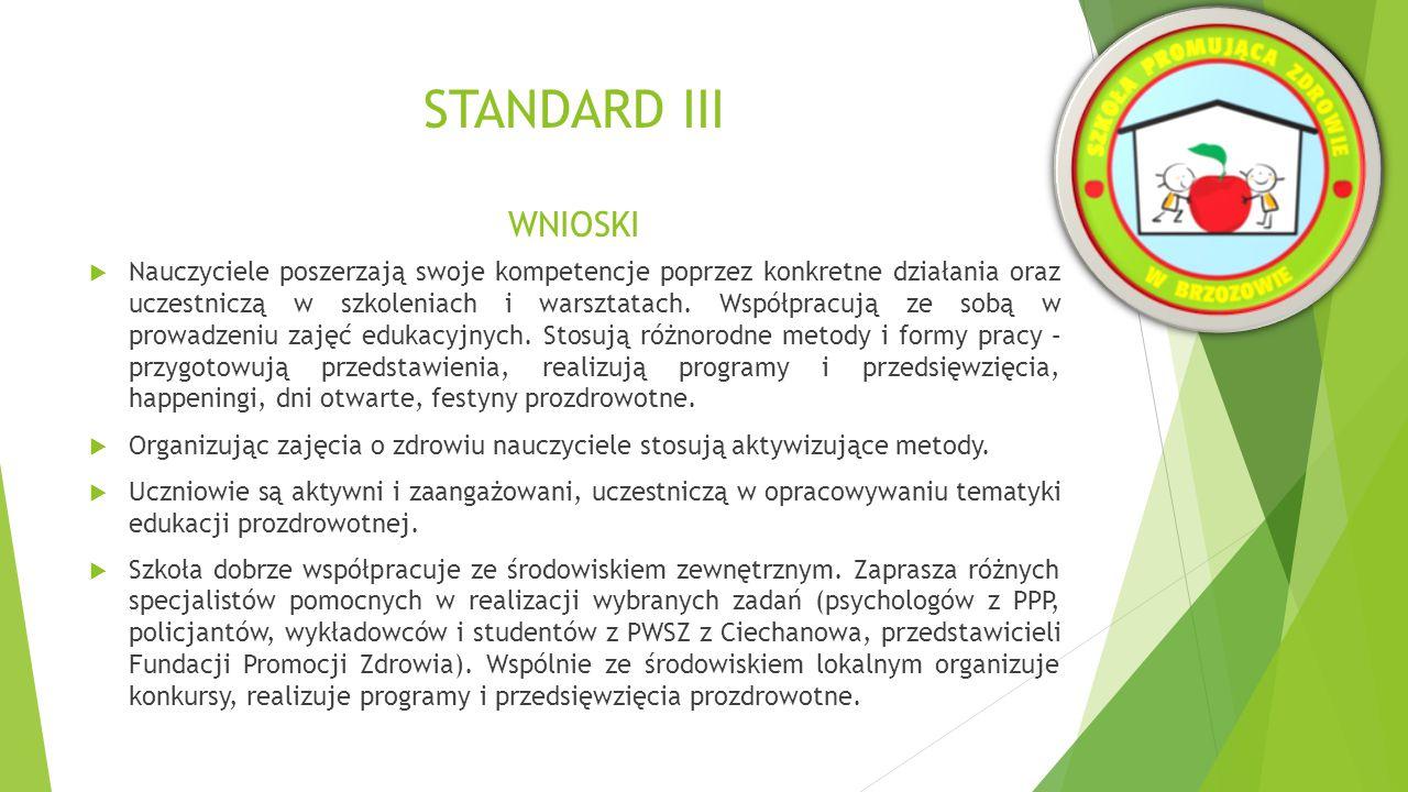 STANDARD III WNIOSKI  Szkoła prowadzi dodatkowe zajęcia sportowo-rekreacyjne dla uczniów i rodziców.