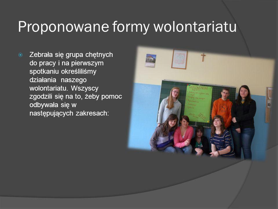 Proponowane formy wolontariatu  Zebrała się grupa chętnych do pracy i na pierwszym spotkaniu określiliśmy działania naszego wolontariatu. Wszyscy zgo