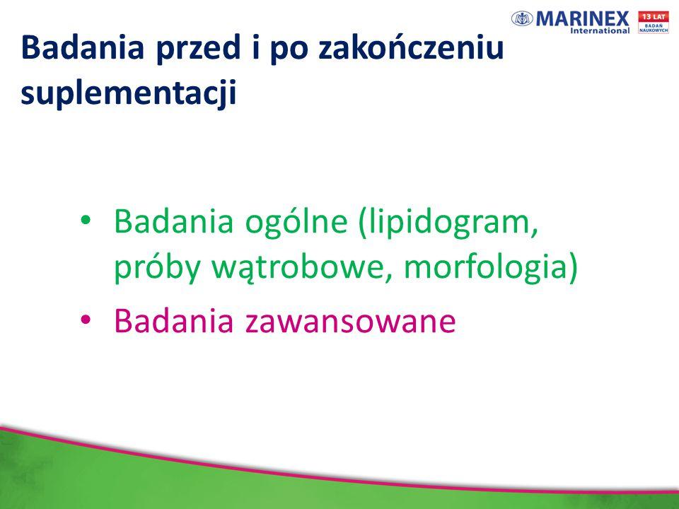 Badania przed i po zakończeniu suplementacji Badania ogólne (lipidogram, próby wątrobowe, morfologia) Badania zawansowane
