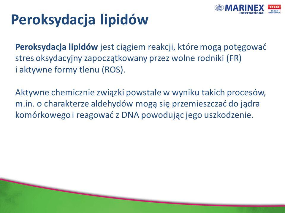 Peroksydacja lipidów Peroksydacja lipidów jest ciągiem reakcji, które mogą potęgować stres oksydacyjny zapoczątkowany przez wolne rodniki (FR) i aktywne formy tlenu (ROS).