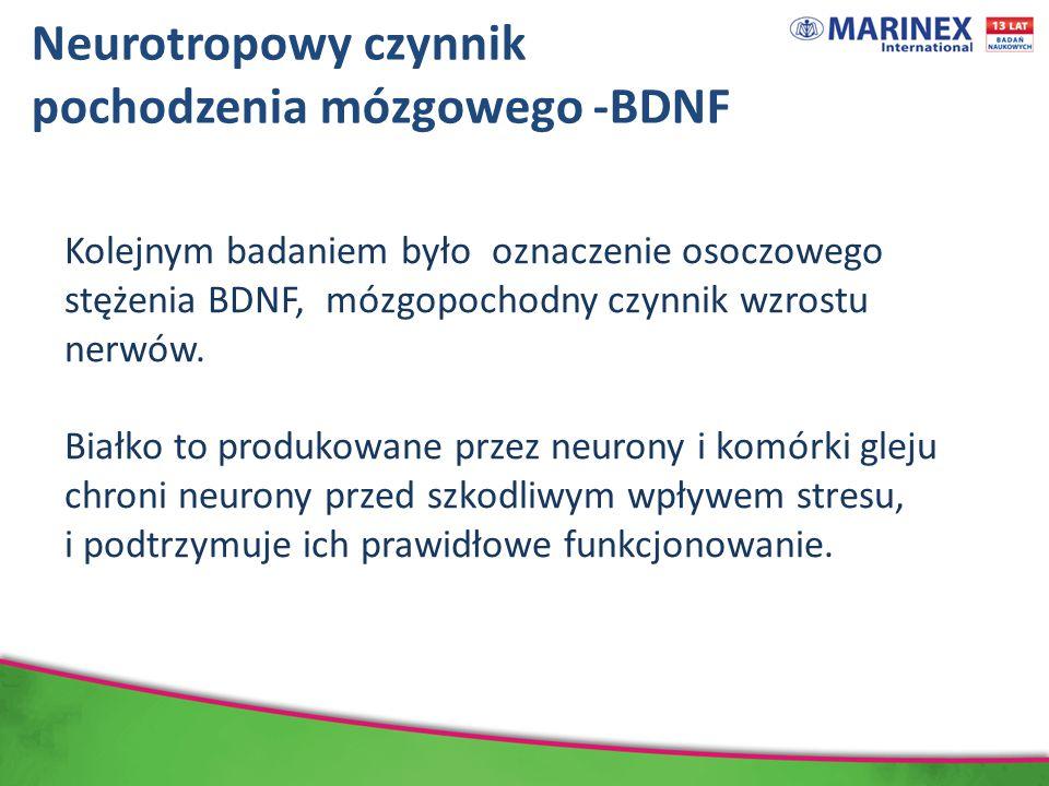 Kolejnym badaniem było oznaczenie osoczowego stężenia BDNF, mózgopochodny czynnik wzrostu nerwów.