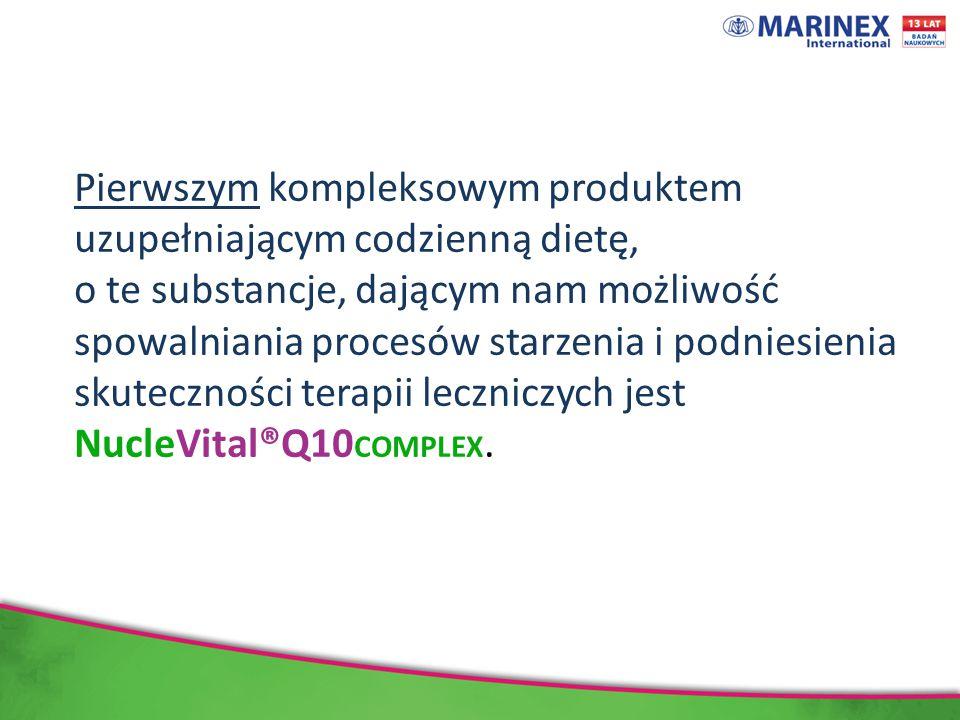 Pierwszym kompleksowym produktem uzupełniającym codzienną dietę, o te substancje, dającym nam możliwość spowalniania procesów starzenia i podniesienia skuteczności terapii leczniczych jest NucleVital®Q10 COMPLEX.
