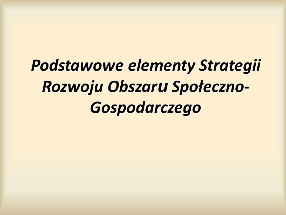 Podstawowe elementy Strategii Rozwoju Obszar u Społeczno- Gospodarczego