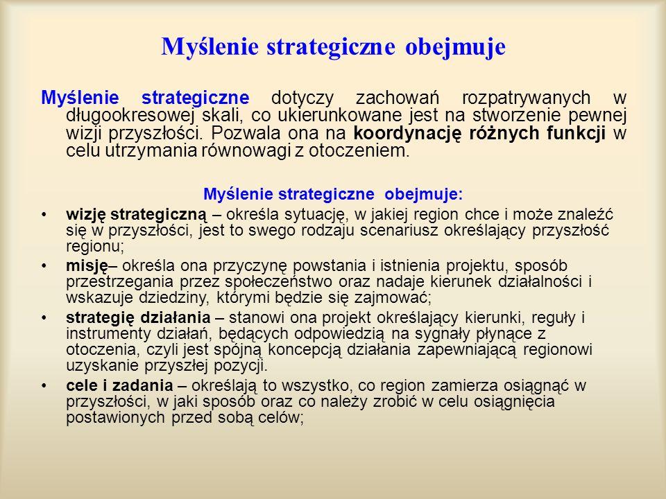 Myślenie strategiczne obejmuje Myślenie strategiczne dotyczy zachowań rozpatrywanych w długookresowej skali, co ukierunkowane jest na stworzenie pewne