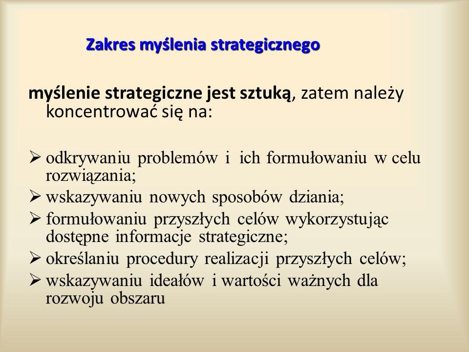 Zakres myślenia strategicznego myślenie strategiczne jest sztuką, zatem należy koncentrować się na:  odkrywaniu problemów i ich formułowaniu w celu r