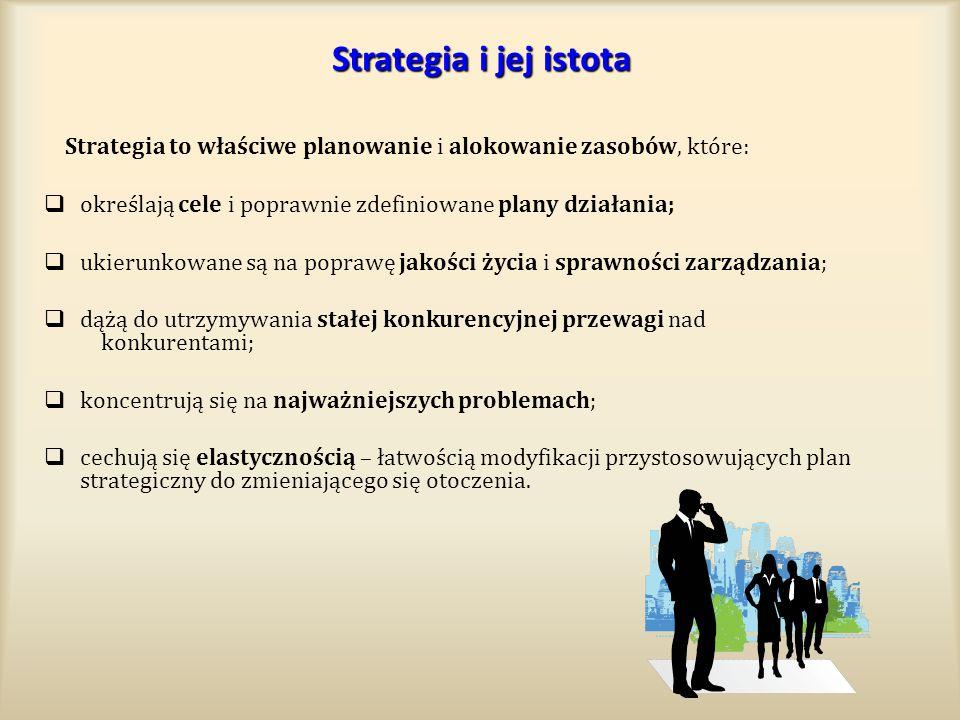 Strategia i jej istota Strategia to właściwe planowanie i alokowanie zasobów, które:  określają cele i poprawnie zdefiniowane plany działania;  ukie
