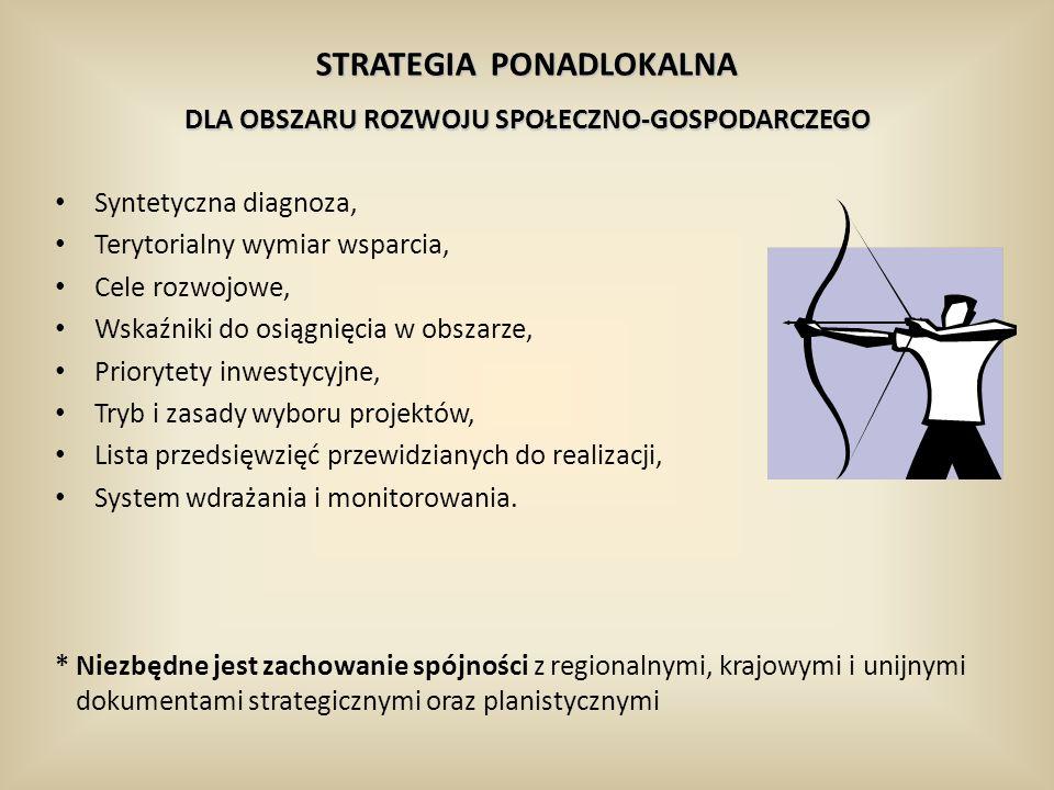 Syntetyczna diagnoza, Terytorialny wymiar wsparcia, Cele rozwojowe, Wskaźniki do osiągnięcia w obszarze, Priorytety inwestycyjne, Tryb i zasady wyboru