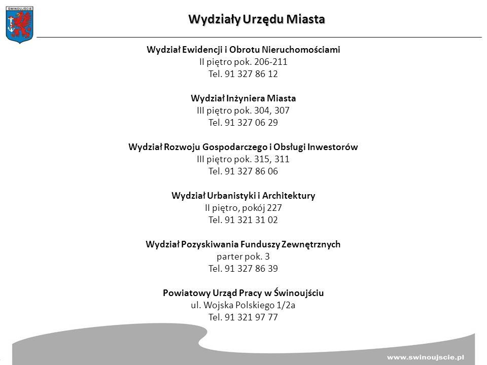 Wydziały Urzędu Miasta Wydział Ewidencji i Obrotu Nieruchomościami II piętro pok.