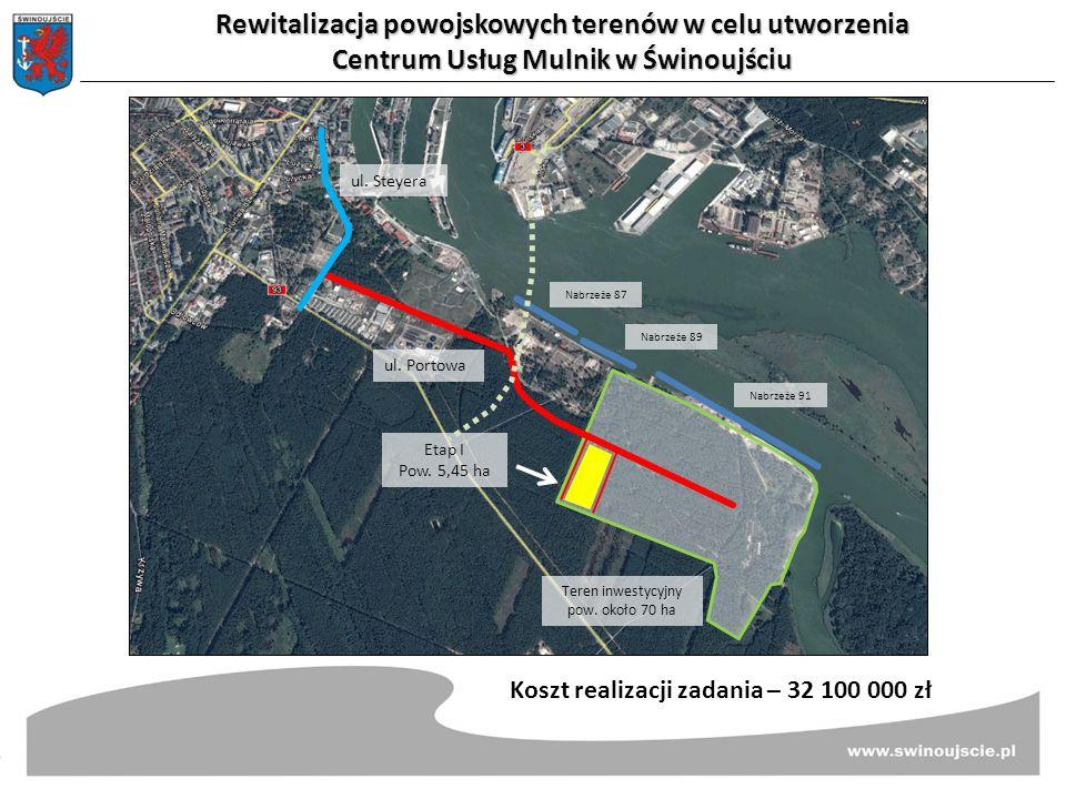 Rewitalizacja powojskowych terenów w celu utworzenia Centrum Usług Mulnik w Świnoujściu Koszt realizacji zadania – 32 100 000 zł ul. Steyera ul. Porto