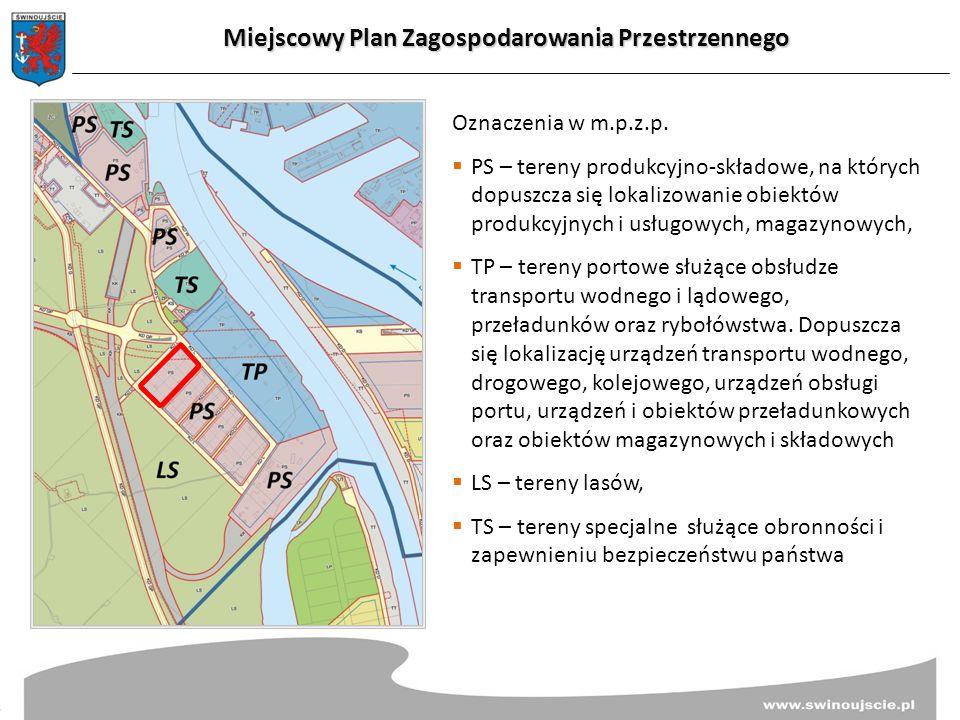 Oznaczenia w m.p.z.p.  PS – tereny produkcyjno-składowe, na których dopuszcza się lokalizowanie obiektów produkcyjnych i usługowych, magazynowych, 