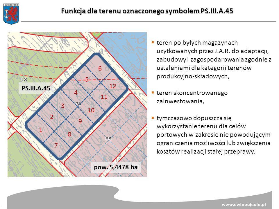 Funkcja dla terenu oznaczonego symbolem PS.III.A.45  teren po byłych magazynach użytkowanych przez J.A.R. do adaptacji, zabudowy i zagospodarowania z