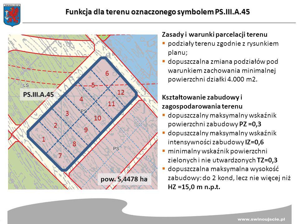 Funkcja dla terenu oznaczonego symbolem PS.III.A.45 Zasady i warunki parcelacji terenu  podziały terenu zgodnie z rysunkiem planu;  dopuszczalna zmiana podziałów pod warunkiem zachowania minimalnej powierzchni działki 4.000 m2.
