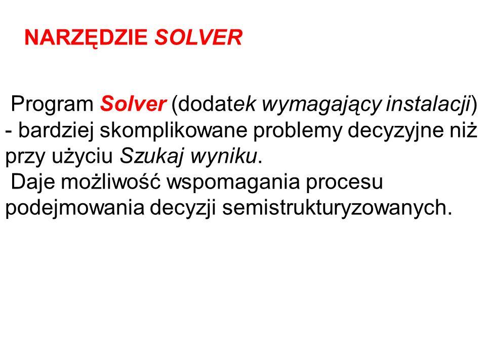 Program Solver (dodatek wymagający instalacji) - bardziej skomplikowane problemy decyzyjne niż przy użyciu Szukaj wyniku. Daje możliwość wspomagania p