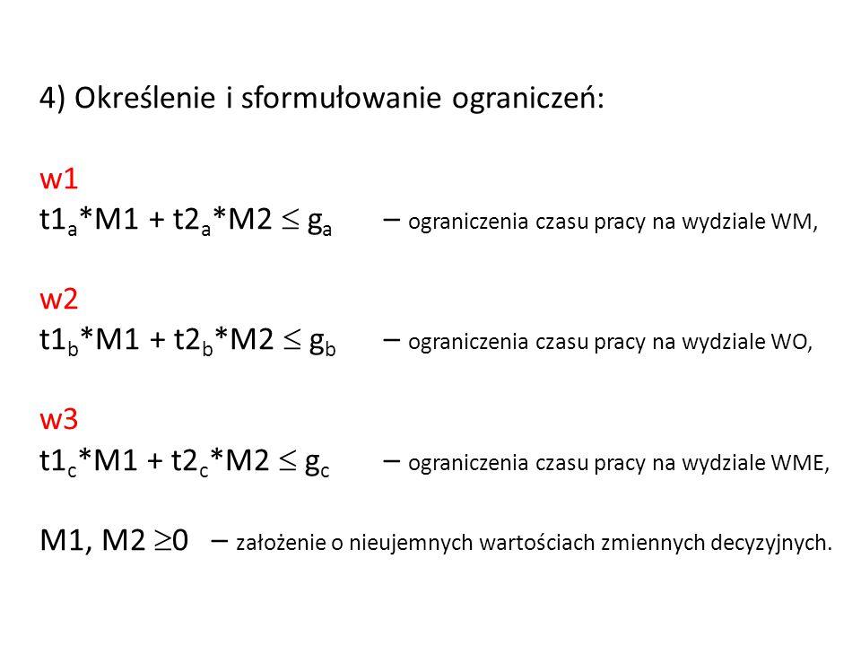 4) Określenie i sformułowanie ograniczeń: w1 t1 a *M1 + t2 a *M2  g a – ograniczenia czasu pracy na wydziale WM, w2 t1 b *M1 + t2 b *M2  g b – ogran