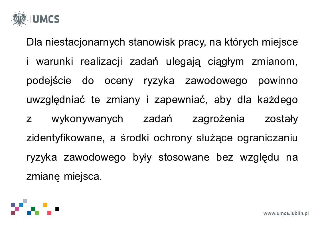 www.umcs.lublin.pl Dla niestacjonarnych stanowisk pracy, na których miejsce i warunki realizacji zadań ulegają ciągłym zmianom, podejście do oceny ryz