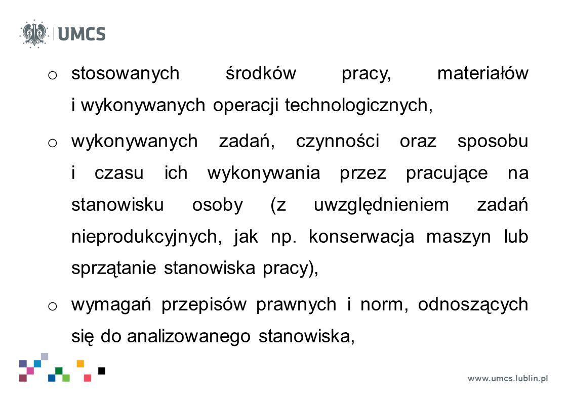 www.umcs.lublin.pl o stosowanych środków pracy, materiałów i wykonywanych operacji technologicznych, o wykonywanych zadań, czynności oraz sposobu i cz