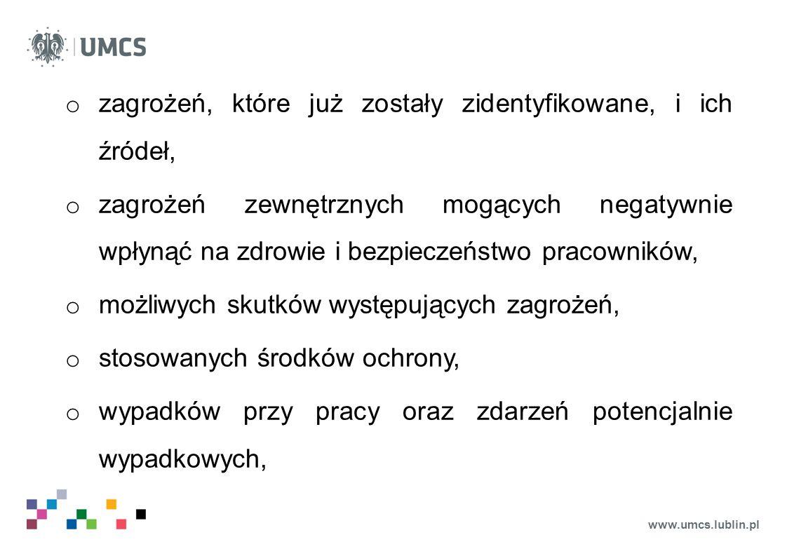 www.umcs.lublin.pl o zagrożeń, które już zostały zidentyfikowane, i ich źródeł, o zagrożeń zewnętrznych mogących negatywnie wpłynąć na zdrowie i bezpi
