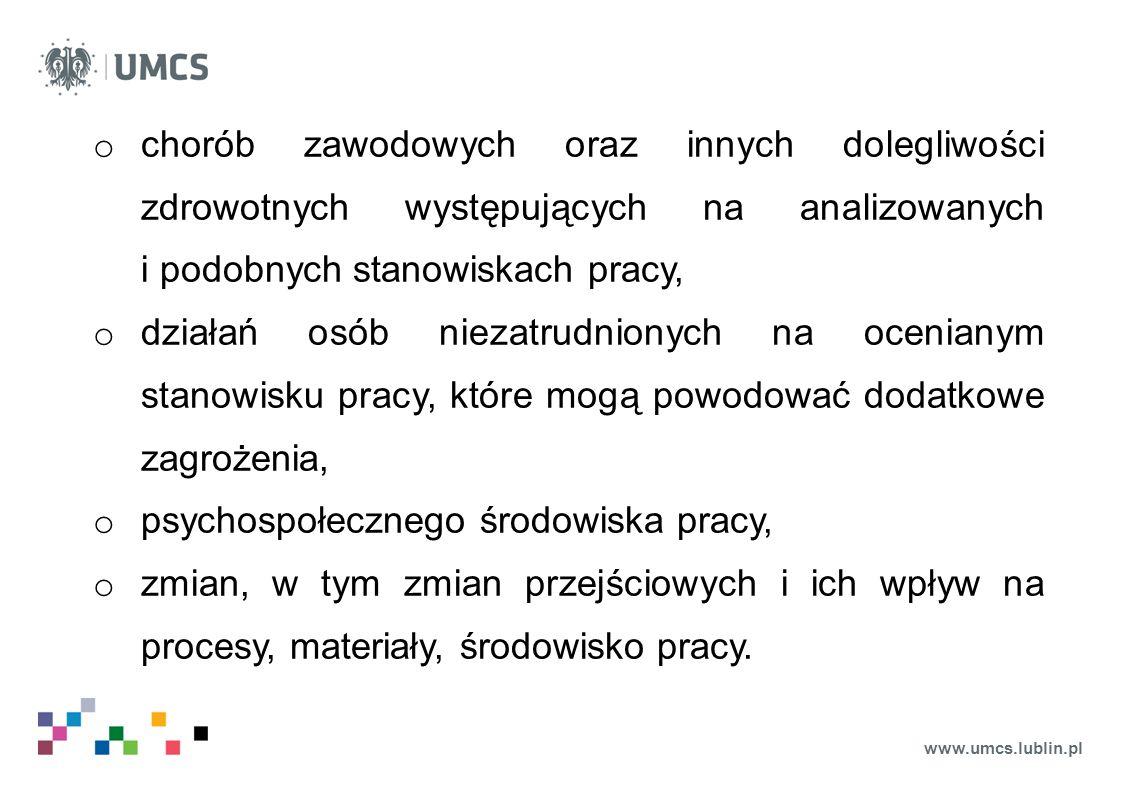 www.umcs.lublin.pl o chorób zawodowych oraz innych dolegliwości zdrowotnych występujących na analizowanych i podobnych stanowiskach pracy, o działań o